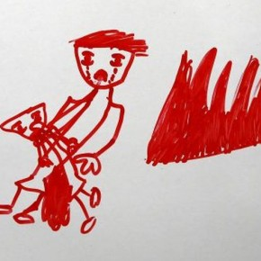 A drawing by Tesnim Faydo, 8, a Syrian refugee girl who lives in Yayladagi refugee camp in Hatay province near the Turkish-Syrian border, Turkey December 16, 2015. The drawing shows a mother crying for her wounded and bleeding daughter next to a grave. Syria's conflict has left hundreds of thousands dead, pushed millions more into exile, and had a profound effect on children who lost their homes or got caught up in the bloodletting. The drawings of young refugees living in Turkey show their memories of home and hopes for its future. The pictures also point to the mental scars borne by 2.3 million Syrian refugees living in Turkey, more than half of them children. REUTERS/Umit Bektas