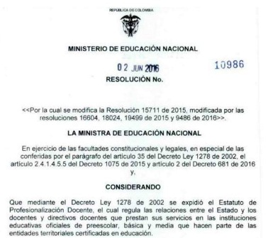 Colombia resoluci n 10986 de 2 de junio del ministerio de for Resolucion docentes 2016