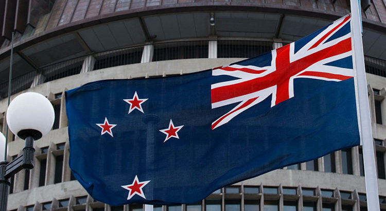 The current New Zealand flag flies on Parliament buildings in Wellington's Central Cusiness District on March 24, 2016.    New Zealanders voted convincingly against a proposal to ditch Britain's Union Jack from the national flag and adopt a silver fern design, official referendum results showed Thursday.    / AFP / Marty Melville   NZEALAND-FLAG-VOTE