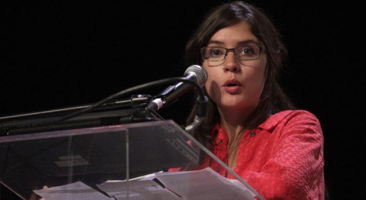 """PUEBLA, Pue. 8 de mayo del 2013.-  La activista chilena Camila Vallejo durante su conferencia magistral """"La Importancia de la educación pública"""" en un acto realizado en el CCU.  //Javier Palacios//Agencia Enfoque//"""