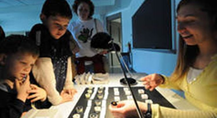 Geoscience graduate student Jessic Yakob, right, shows Danny, left, and Sammy a sample of opal from a display of birthstones, as part of the Minerals Junior Education Day held on Saturday, March 28, in the Earth and Engineering Sciences Building.
